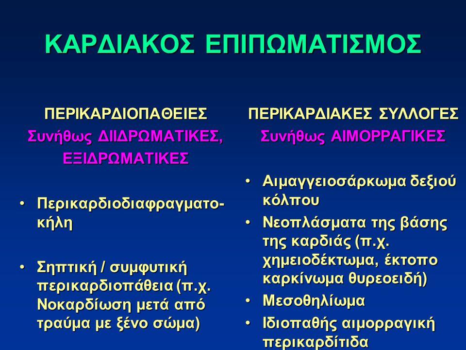 ΚΛΙΝΙΚΗ ΕΙΚΟΝΑ Ασκίτης – υποδόρια οιδήματαΑσκίτης – υποδόρια οιδήματα Θετικός φλεβικός σφυγμός – διάταση σφαγίτιδωνΘετικός φλεβικός σφυγμός – διάταση σφαγίτιδων Εύκολη κόπωσηΕύκολη κόπωση Δύσπνοια – ταχύπνοιαΔύσπνοια – ταχύπνοια Καρδιακή καχεξίαΚαρδιακή καχεξία Λιποθυμικές κρίσειςΛιποθυμικές κρίσεις Βυθιότητα καρδιακών τόνωνΒυθιότητα καρδιακών τόνων Παράδοξος σφυγμόςΠαράδοξος σφυγμός