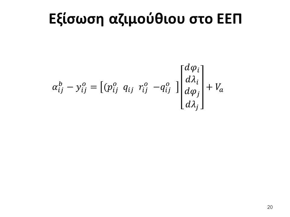 Εξίσωση αζιμούθιου στο ΕΕΠ 20