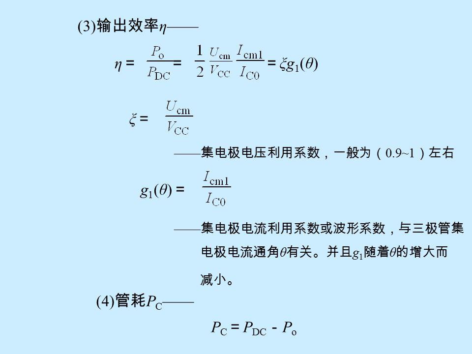 谐振回路作用 ——1) 选频作用可将失真的集电极电流脉冲变换 为不失真的输出电压; 2) 实现匹配作用。 3-7- 3 丙类谐振功特性 主要参数 (1) 输出功率 P o —— Po =Po =(其中:谐振负载 R = ) (2) 直流电源供电功率 P DC —— P DC = V CC I C0