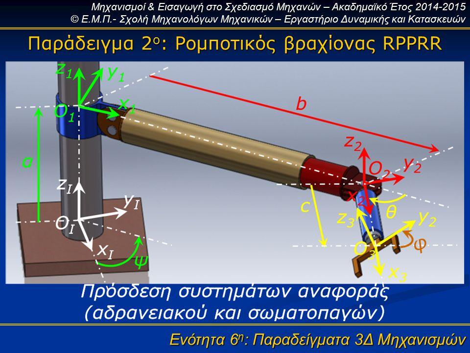 Μηχανισμοί & Εισαγωγή στο Σχεδιασμό Μηχανών – Ακαδημαϊκό Έτος 2014-2015 © Ε.Μ.Π.- Σχολή Μηχανολόγων Μηχανικών – Εργαστήριο Δυναμικής και Κατασκευών Ενότητα 6 η : Παραδείγματα 3Δ Μηχανισμών Παράδειγμα 2 ο : Ρομποτικός βραχίονας RPPRR