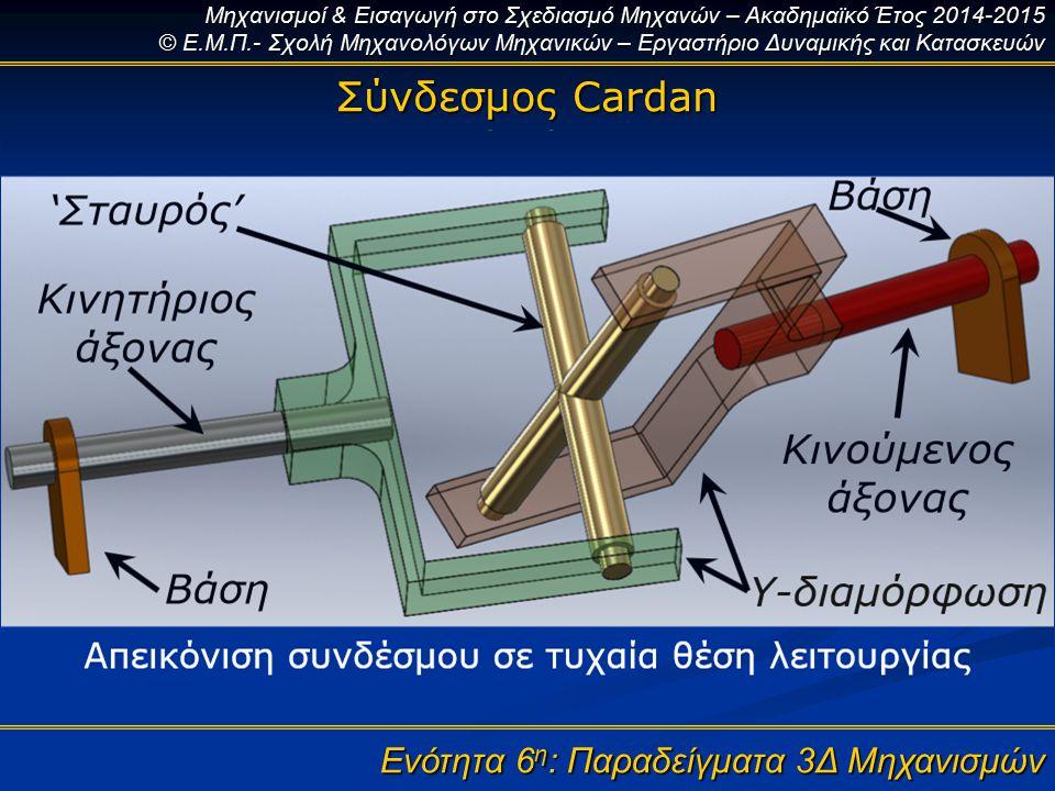 Μηχανισμοί & Εισαγωγή στο Σχεδιασμό Μηχανών – Ακαδημαϊκό Έτος 2014-2015 © Ε.Μ.Π.- Σχολή Μηχανολόγων Μηχανικών – Εργαστήριο Δυναμικής και Κατασκευών Ενότητα 6 η : Παραδείγματα 3Δ Μηχανισμών Σύνδεσμος Cardan