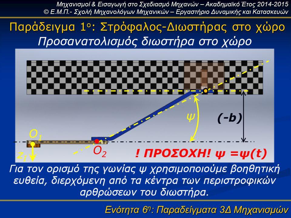 Μηχανισμοί & Εισαγωγή στο Σχεδιασμό Μηχανών – Ακαδημαϊκό Έτος 2014-2015 © Ε.Μ.Π.- Σχολή Μηχανολόγων Μηχανικών – Εργαστήριο Δυναμικής και Κατασκευών Ενότητα 6 η : Παραδείγματα 3Δ Μηχανισμών Παράδειγμα 1 ο : Στρόφαλος-Διωστήρας στο χώρο