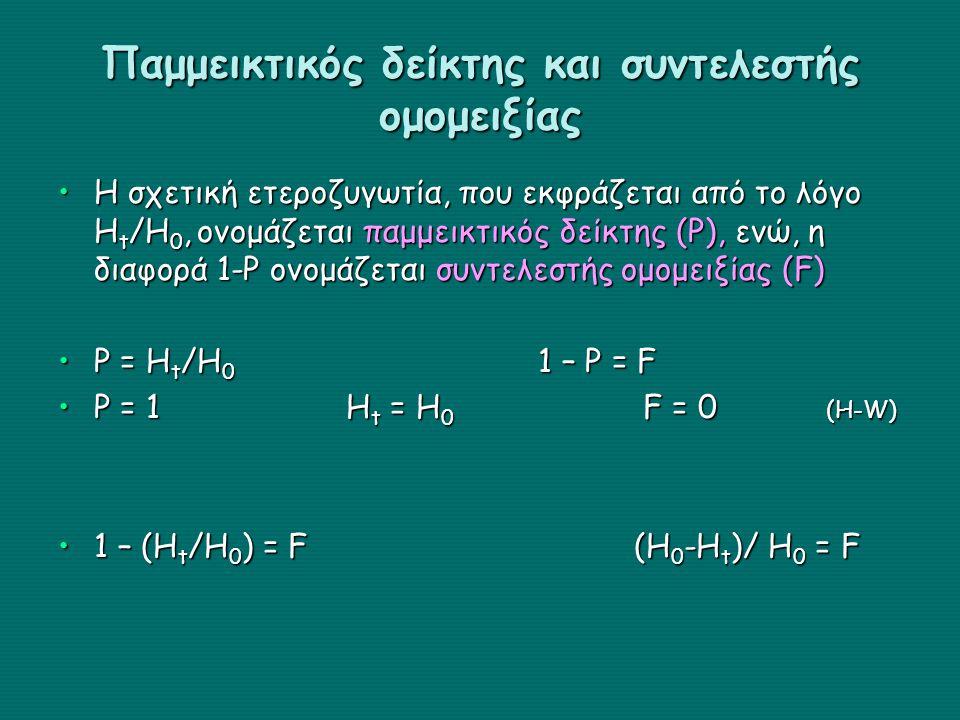 Παμμεικτικός δείκτης και συντελεστής ομομειξίας Η σχετική ετεροζυγωτία, που εκφράζεται από το λόγο Η t /Η 0, ονομάζεται παμμεικτικός δείκτης (P), ενώ,