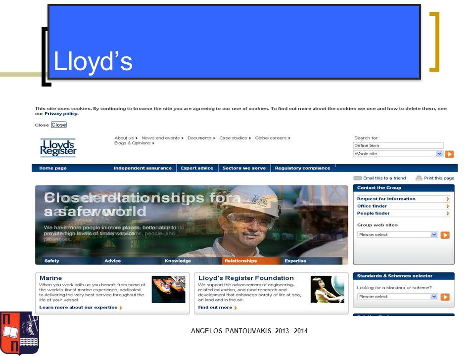 ANGELOS PANTOUVAKIS 2013- 2014 Lloyd's