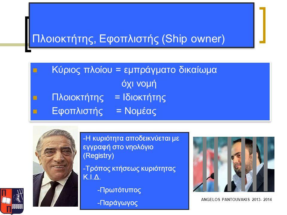 ANGELOS PANTOUVAKIS 2013- 2014 Πλοιοκτήτης, Εφοπλιστής (Ship owner) Κύριος πλοίου = εμπράγματο δικαίωμα όχι νομή Πλοιοκτήτης = Ιδιοκτήτης Εφοπλιστής =