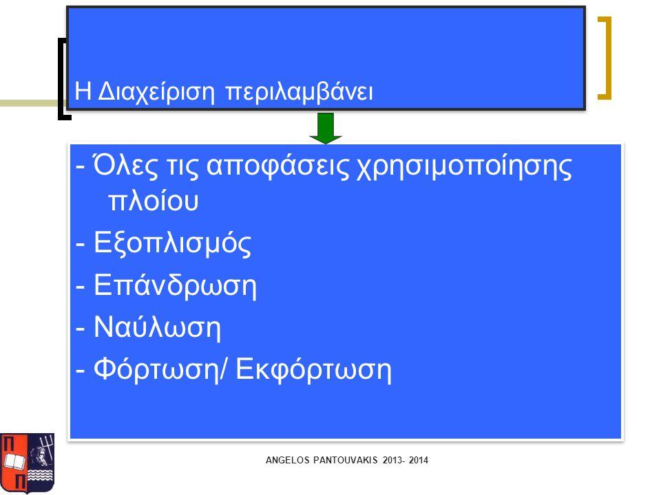 ANGELOS PANTOUVAKIS 2013- 2014 - Όλες τις αποφάσεις χρησιμοποίησης πλοίου - Εξοπλισμός - Επάνδρωση - Ναύλωση - Φόρτωση/ Εκφόρτωση - Όλες τις αποφάσεις