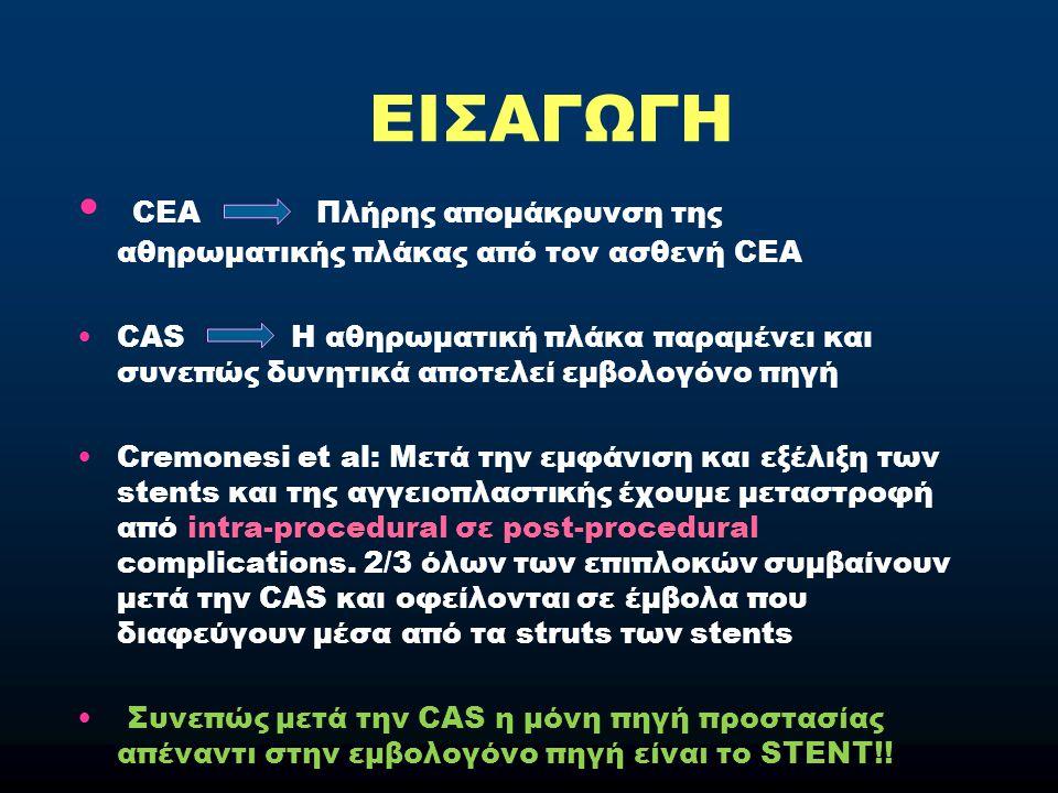 ΕΙΣΑΓΩΓΗ CEA Πλήρης απομάκρυνση της αθηρωματικής πλάκας από τον ασθενή CEA CAS Η αθηρωματική πλάκα παραμένει και συνεπώς δυνητικά αποτελεί εμβολογόνο