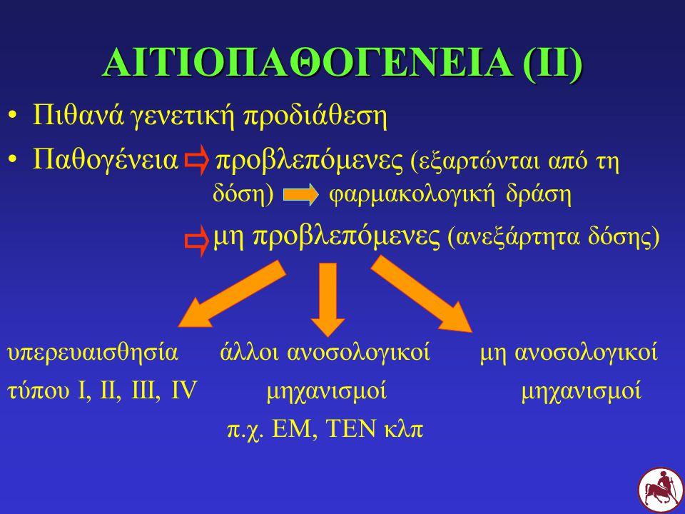 ΑΙΤΙΟΠΑΘΟΓΕΝΕΙΑ (ΙΙ) Πιθανά γενετική προδιάθεση Παθογένεια προβλεπόμενες (εξαρτώνται από τη δόση) φαρμακολογική δράση μη προβλεπόμενες (ανεξάρτητα δόσης) υπερευαισθησία άλλοι ανοσολογικοί μη ανοσολογικοί τύπου Ι, ΙΙ, ΙΙΙ, IV μηχανισμοί μηχανισμοί π.χ.