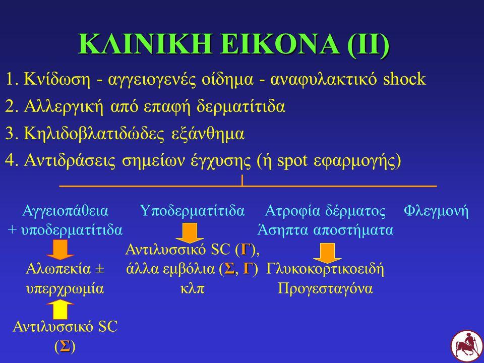 Ατροφία δέρματος Άσηπτα αποστήματα Γλυκοκορτικοειδή Προγεσταγόνα Αγγειοπάθεια + υποδερματίτιδα Αλωπεκία ± υπερχρωμία Σ Αντιλυσσικό SC (Σ) ΚΛΙΝΙΚΗ ΕΙΚΟΝΑ (ΙΙ) 1.