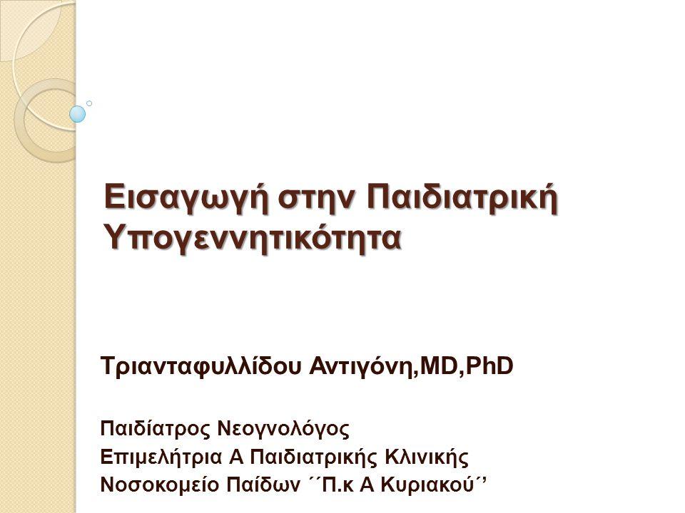 Εισαγωγή στην Παιδιατρική Υπογεννητικότητα Τριανταφυλλίδου Αντιγόνη,MD,PhD Παιδίατρος Νεογνολόγος Επιμελήτρια Α Παιδιατρικής Κλινικής Νοσοκομείο Παίδων ΄΄Π.κ Α Κυριακού΄'