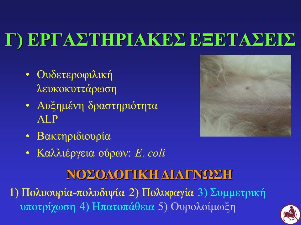 Γ) ΕΡΓΑΣΤΗΡΙΑΚΕΣ ΕΞΕΤΑΣΕΙΣ ΝΟΣΟΛΟΓΙΚΗ ΔΙΑΓΝΩΣΗ 1) Πολυουρία-πολυδιψία 2) Πολυφαγία ΝΟΣΟΛΟΓΙΚΗ ΔΙΑΓΝΩΣΗ 1) Πολυουρία-πολυδιψία 2) Πολυφαγία 3) Συμμετρική υποτρίχωση 4) Ηπατοπάθεια Ουδετεροφιλική λευκοκυττάρωση Αυξημένη δραστηριότητα ALP Βακτηριδιουρία Καλλιέργεια ούρων: E.