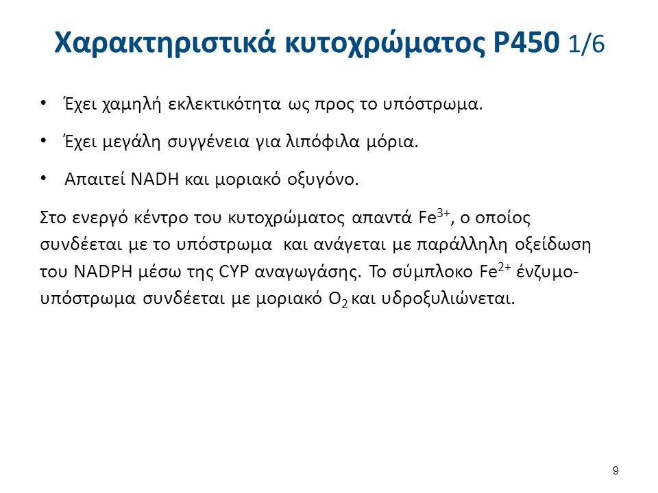 Χαρακτηριστικά κυτοχρώματος P450 1/6 Έχει χαμηλή εκλεκτικότητα ως προς το υπόστρωμα. Έχει μεγάλη συγγένεια για λιπόφιλα μόρια. Απαιτεί NADH και μοριακ