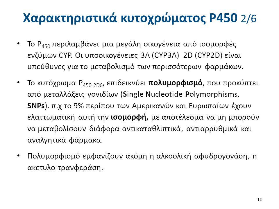 Χαρακτηριστικά κυτοχρώματος P450 2/6 Το P 450 περιλαμβάνει μια μεγάλη οικογένεια από ισομορφές ενζύμων CYP. Οι υποοικογένειες 3A (CYP3A) 2D (CYP2D) εί