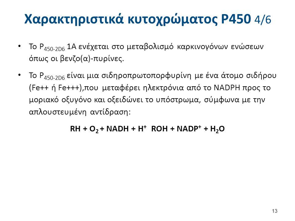 Χαρακτηριστικά κυτοχρώματος P450 4/6 To P 450-2D6 1Α ενέχεται στο μεταβολισμό καρκινογόνων ενώσεων όπως οι βενζο(α)-πυρίνες. Το P 450-2D6 είναι μια σι