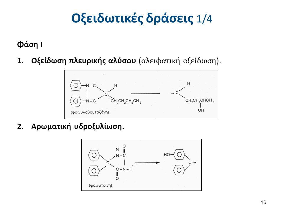Οξειδωτικές δράσεις 1/4 Φάση Ι 1.Οξείδωση πλευρικής αλύσου (αλειφατική οξείδωση). 2.Αρωματική υδροξυλίωση. 16