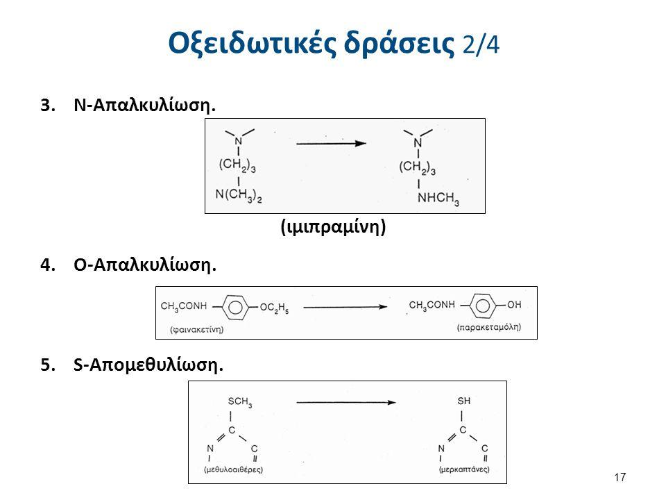 Οξειδωτικές δράσεις 2/4 3.Ν-Απαλκυλίωση. (ιμιπραμίνη) 4.Ο-Απαλκυλίωση. 5.S-Απομεθυλίωση. 17