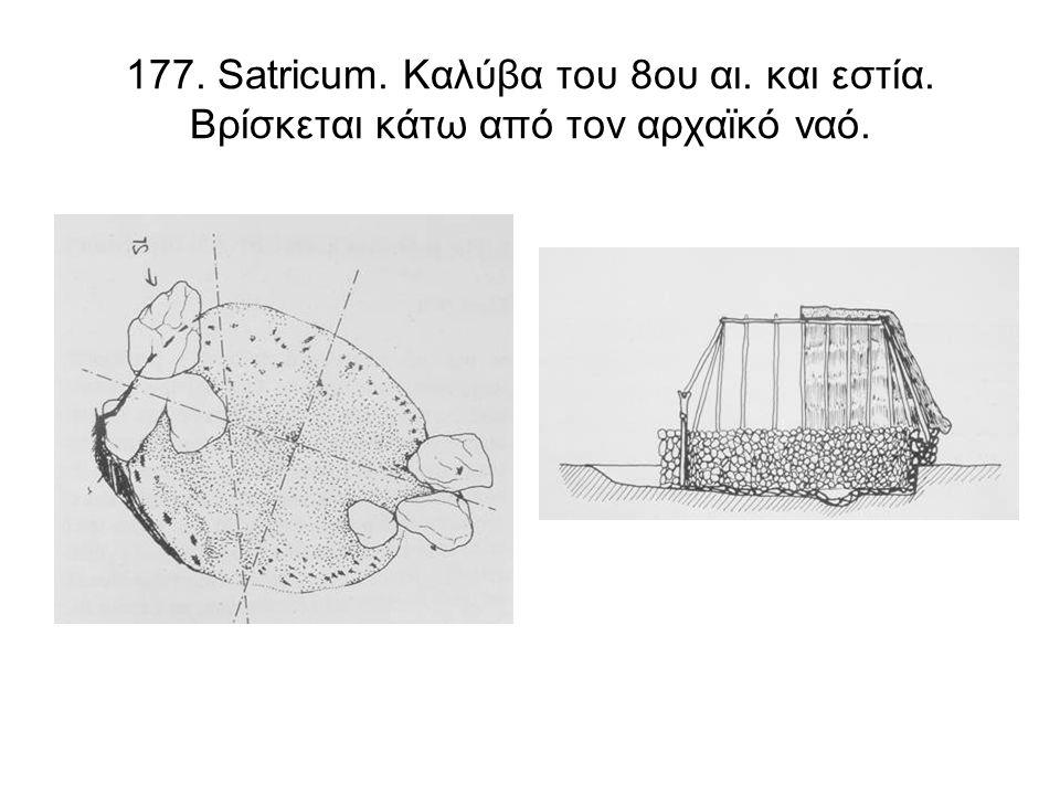 177. Satricum. Καλύβα του 8ου αι. και εστία. Βρίσκεται κάτω από τον αρχαϊκό ναό.