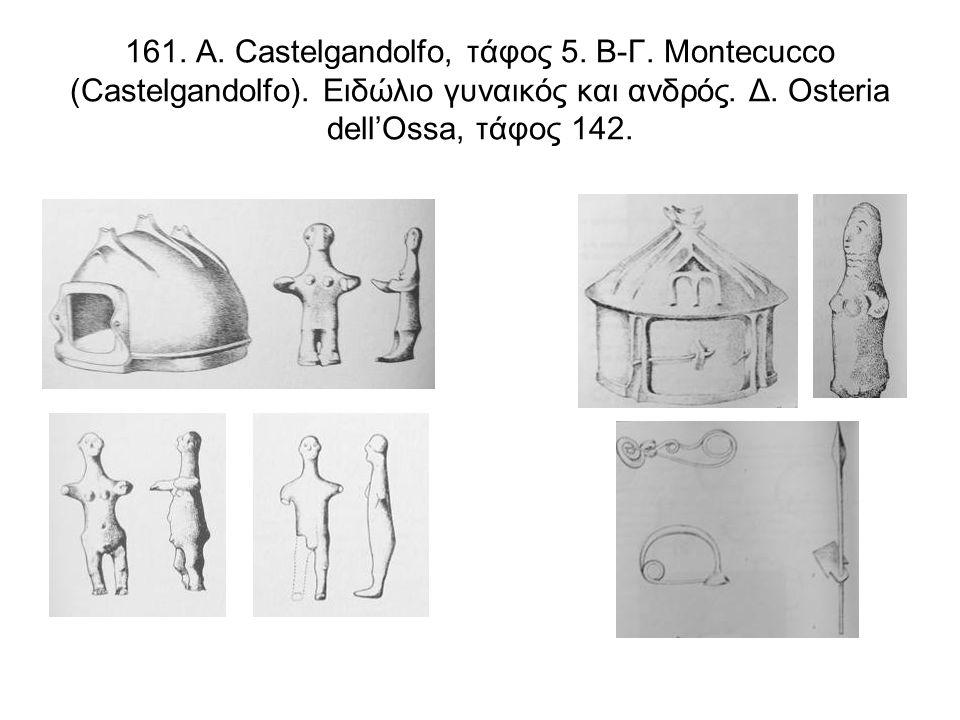 161. Α. Castelgandolfo, τάφος 5. Β-Γ. Montecucco (Castelgandolfo). Ειδώλιο γυναικός και ανδρός. Δ. Osteria dell'Ossa, τάφος 142.