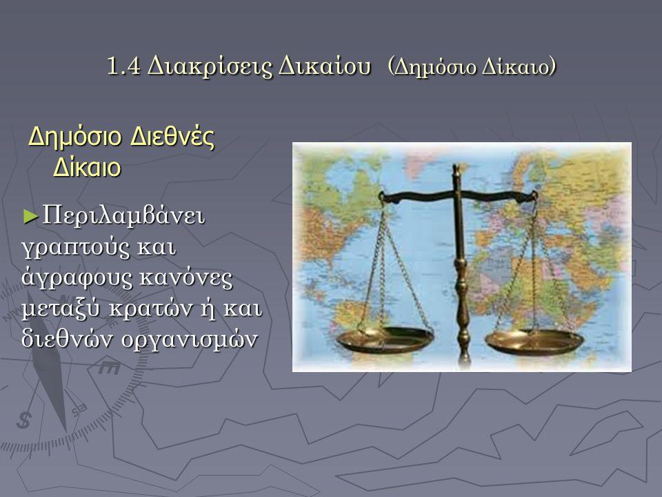 1.4 Διακρίσεις Δικαίου (Δημόσιο Δίκαιο) Δημόσιο Διεθνές Δίκαιο ► Περιλαμβάνει γραπτούς και άγραφους κανόνες μεταξύ κρατών ή και διεθνών οργανισμών