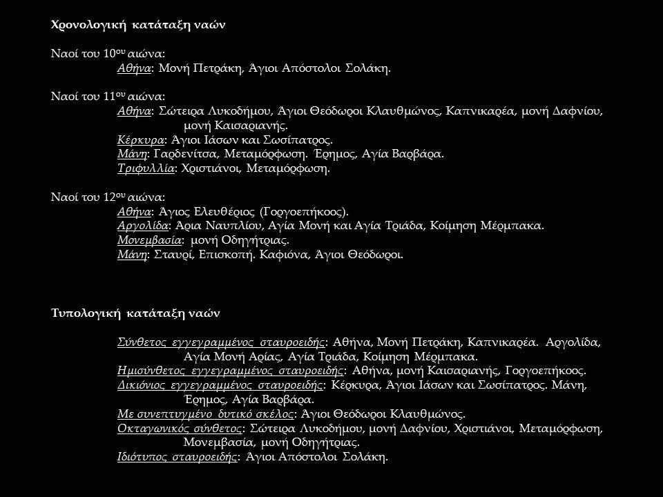 Χρονολογική κατάταξη ναών Ναοί του 10 ου αιώνα: Αθήνα: Μονή Πετράκη, Άγιοι Απόστολοι Σολάκη. Ναοί του 11 ου αιώνα: Αθήνα: Σώτειρα Λυκοδήμου, Άγιοι Θεό