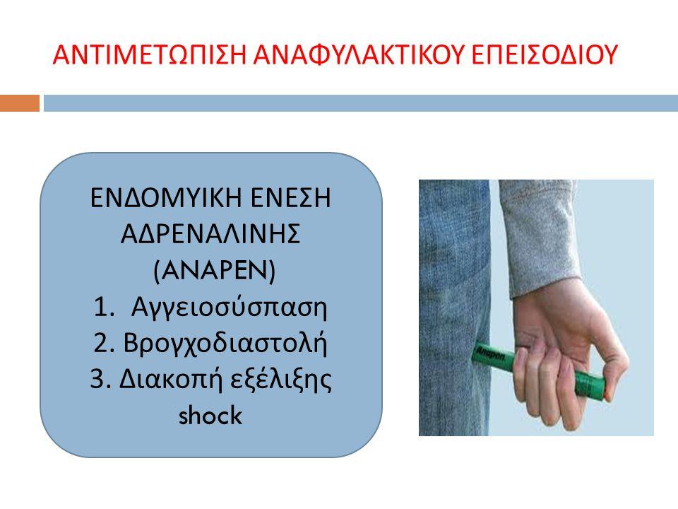 ΑΝΤΙΜΕΤΩΠΙΣΗ ΑΝΑΦΥΛΑΚΤΙΚΟΥ ΕΠΕΙΣΟΔΙΟΥ ΕΝΔΟΜΥΙΚΗ ΕΝΕΣΗ ΑΔΡΕΝΑΛΙΝΗΣ (ANAPEN) 1. Αγγειοσύσ π αση 2. Βρογχοδιαστολή 3. Διακο π ή εξέλιξης shock