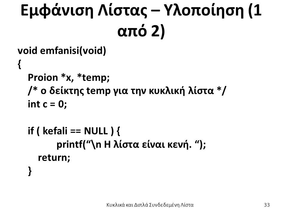 Εμφάνιση Λίστας – Υλοποίηση (1 από 2) void emfanisi(void) { Proion *x, *temp; /* o δείκτης temp για την κυκλική λίστα */ int c = 0; if ( kefali == NULL ) { printf( \n H λίστα είναι κενή.
