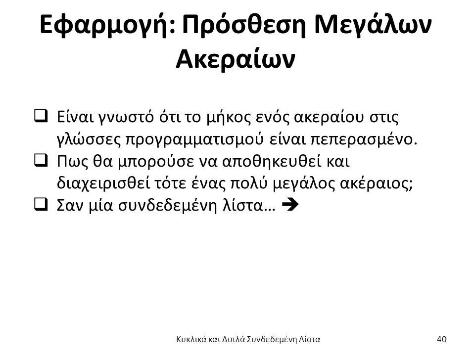 Εφαρμογή: Πρόσθεση Μεγάλων Ακεραίων  Είναι γνωστό ότι το μήκος ενός ακεραίου στις γλώσσες προγραμματισμού είναι πεπερασμένο.