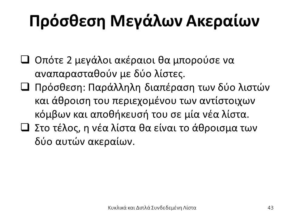 Πρόσθεση Μεγάλων Ακεραίων  Οπότε 2 μεγάλοι ακέραιοι θα μπορούσε να αναπαρασταθούν με δύο λίστες.