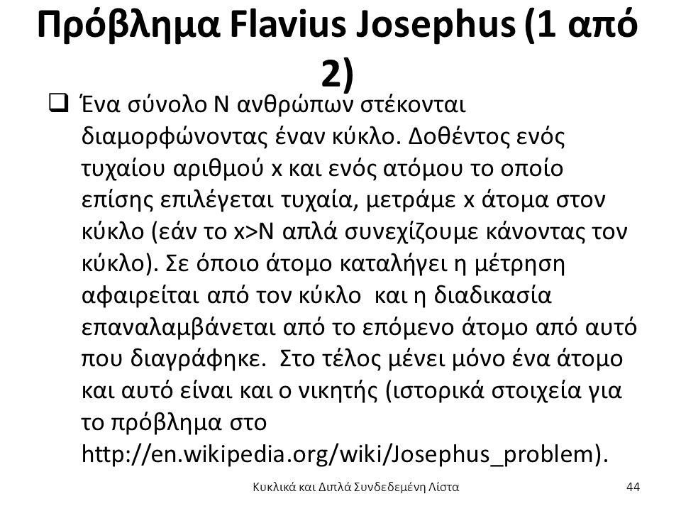 Πρόβλημα Flavius Josephus (1 από 2)  Ένα σύνολο Ν ανθρώπων στέκονται διαμορφώνοντας έναν κύκλο.