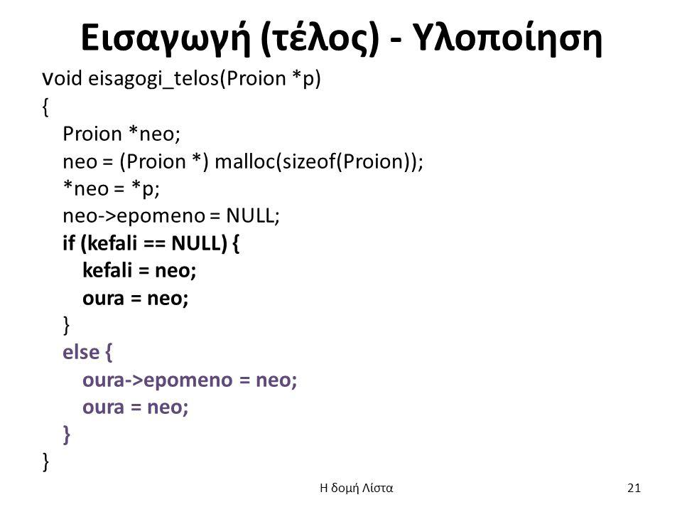 Εισαγωγή (τέλος) - Υλοποίηση v oid eisagogi_telos(Proion *p) { Proion *neo; neo = (Proion *) malloc(sizeof(Proion)); *neo = *p; neo->epomeno = NULL; if (kefali == NULL) { kefali = neo; oura = neo; } else { oura->epomeno = neo; oura = neo; } Η δομή Λίστα 21