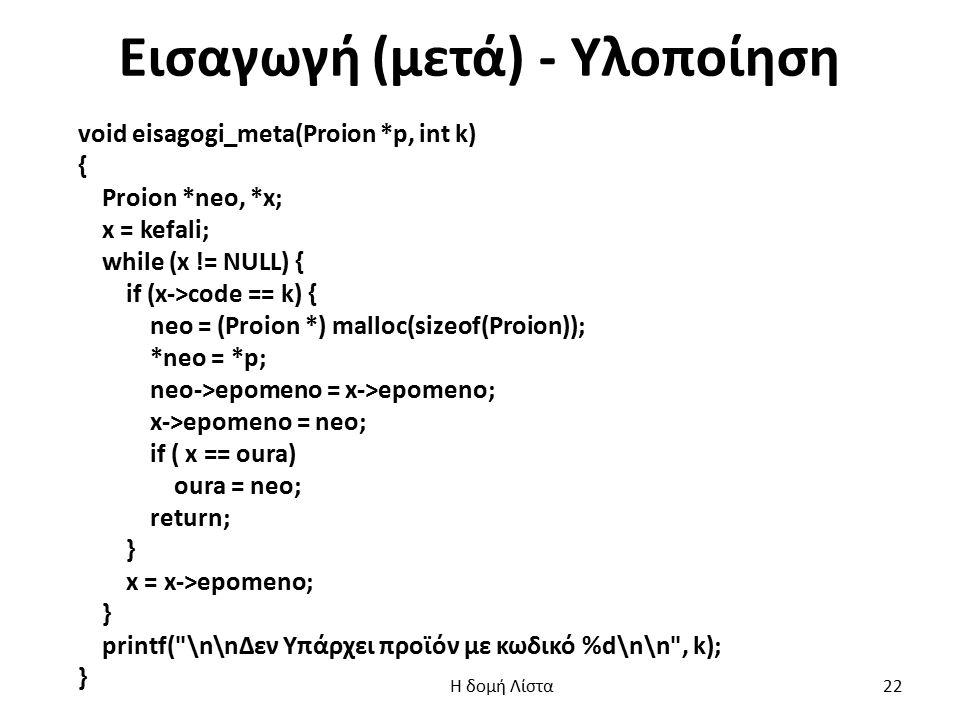 Εισαγωγή (μετά) - Υλοποίηση void eisagogi_meta(Proion *p, int k) { Proion *neo, *x; x = kefali; while (x != NULL) { if (x->code == k) { neo = (Proion *) malloc(sizeof(Proion)); *neo = *p; neo->epomeno = x->epomeno; x->epomeno = neo; if ( x == oura) oura = neo; return; } x = x->epomeno; } printf( \n\nΔεν Υπάρχει προϊόν με κωδικό %d\n\n , k); } Η δομή Λίστα 22