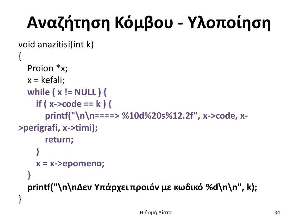 Αναζήτηση Κόμβου - Υλοποίηση void anazitisi(int k) { Proion *x; x = kefali; while ( x != NULL ) { if ( x->code == k ) { printf( \n\n====> %10d%20s%12.2f , x->code, x- >perigrafi, x->timi); return; } x = x->epomeno; } printf( \n\nΔεν Υπάρχει προιόν με κωδικό %d\n\n , k); } Η δομή Λίστα 34