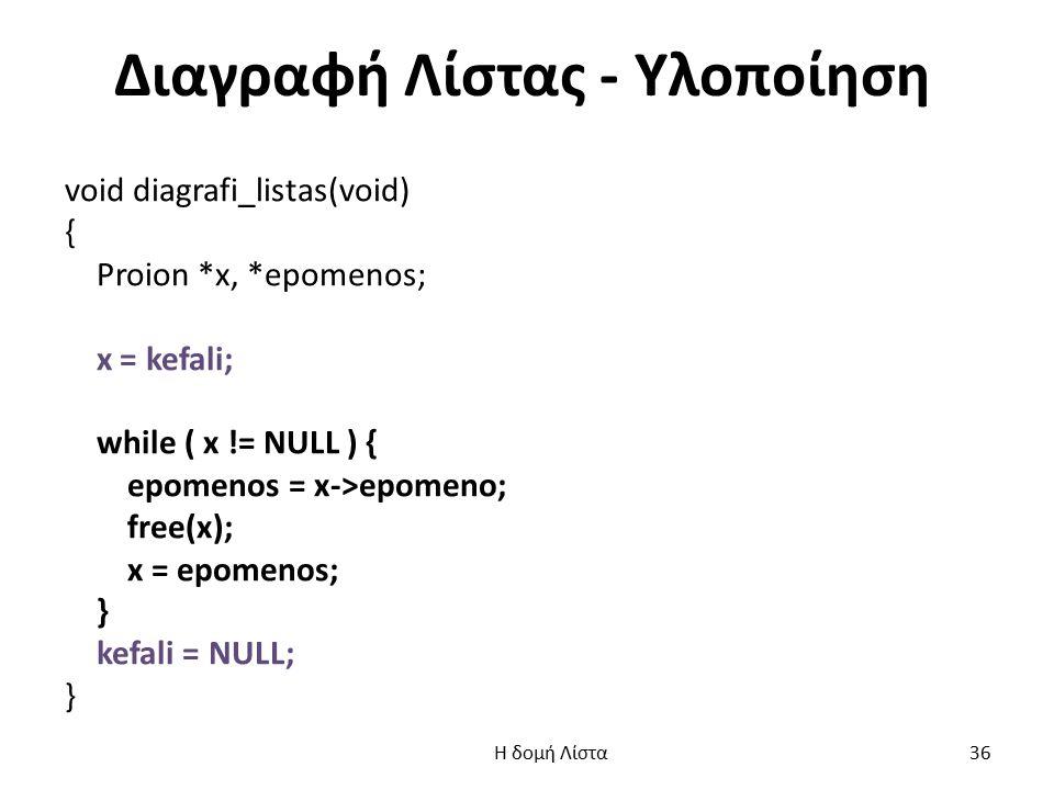 Διαγραφή Λίστας - Υλοποίηση void diagrafi_listas(void) { Proion *x, *epomenos; x = kefali; while ( x != NULL ) { epomenos = x->epomeno; free(x); x = epomenos; } kefali = NULL; } Η δομή Λίστα 36