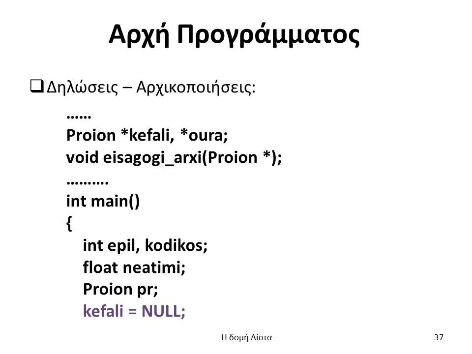 Αρχή Προγράμματος  Δηλώσεις – Αρχικοποιήσεις: …… Proion *kefali, *oura; void eisagogi_arxi(Proion *); ……….