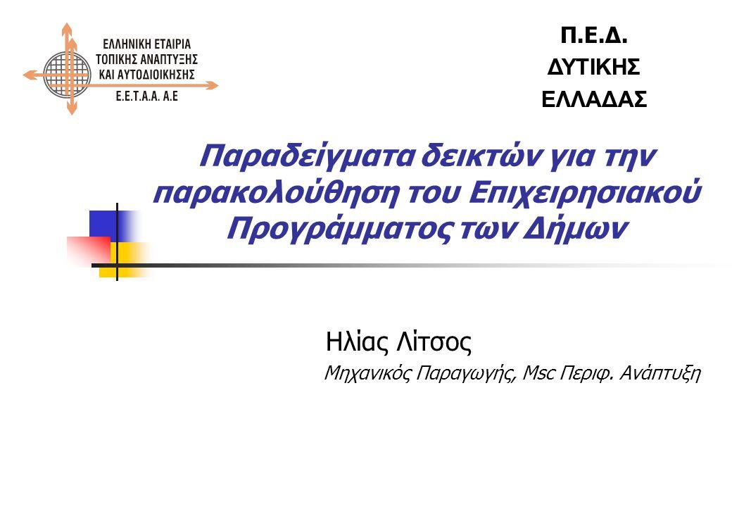 Παράδειγμα κατάρτισης δεικτών (2) ΑΞΟΝΑΣ 2 : Κοινωνική Ανάπτυξη και Συνοχή Μέτρο : Δομές κοινωνικής φροντίδας Στόχος : Παροχή υπηρεσιών πρωτοβάθμιας υγείας Δράσεις : Οργάνωση και λειτουργία Δημοτικού πολυϊατρείου Δείκτες - Αριθμός επισκέψεων στο Δημοτικό πολυϊατρείο - Ποσοστό ικανοποίησης πολιτών από τις παρεχόμενες υπηρεσίες υγείας