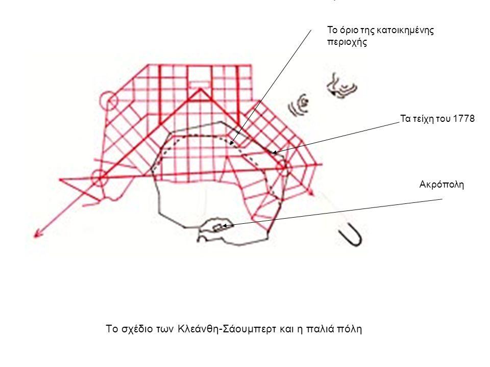 Το σχέδιο των Κλεάνθη-Σάουμπερτ και η παλιά πόλη Ακρόπολη Τα τείχη του 1778 Το όριο της κατοικημένης περιοχής