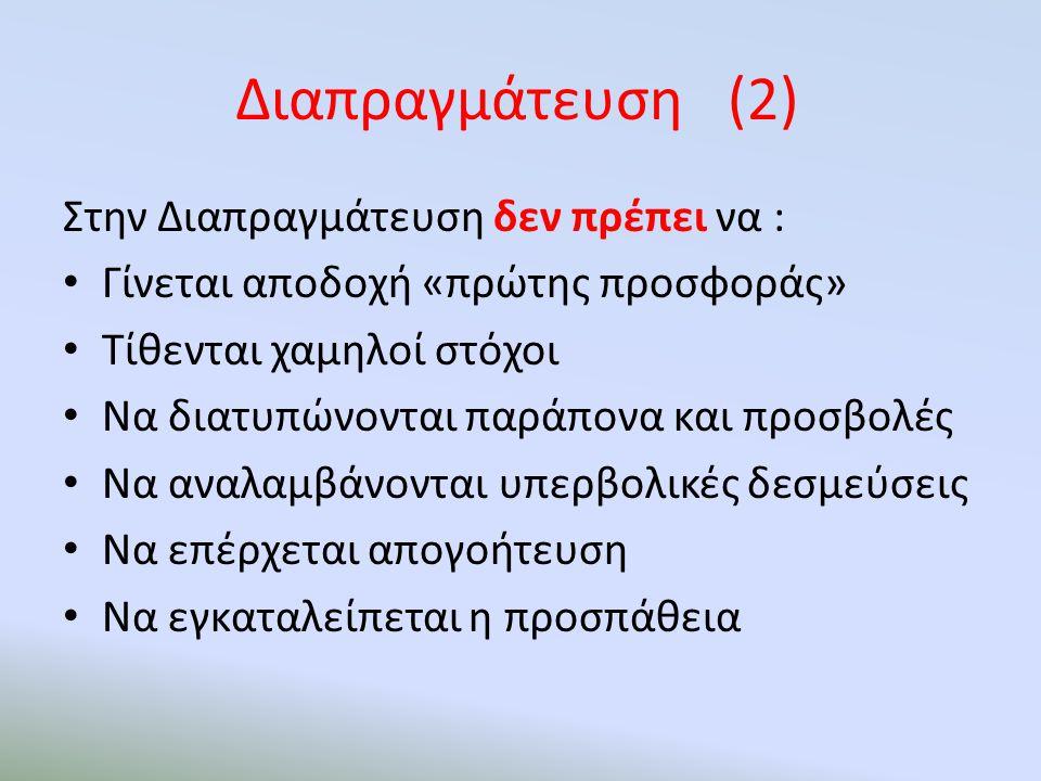 Διαπραγμάτευση (2) Στην Διαπραγμάτευση δεν πρέπει να : Γίνεται αποδοχή «πρώτης προσφοράς» Τίθενται χαμηλοί στόχοι Να διατυπώνονται παράπονα και προσβο