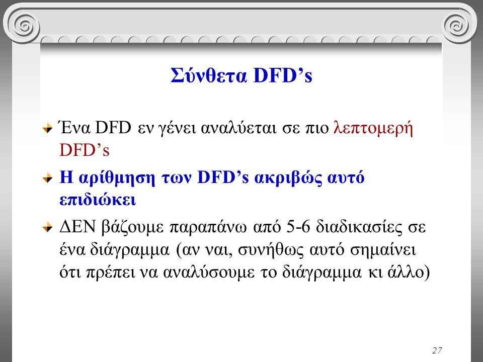 27 Σύνθετα DFD's Ένα DFD εν γένει αναλύεται σε πιο λεπτομερή DFD's Η αρίθμηση των DFD's ακριβώς αυτό επιδιώκει ΔΕΝ βάζουμε παραπάνω από 5-6 διαδικασίες σε ένα διάγραμμα (αν ναι, συνήθως αυτό σημαίνει ότι πρέπει να αναλύσουμε το διάγραμμα κι άλλο)