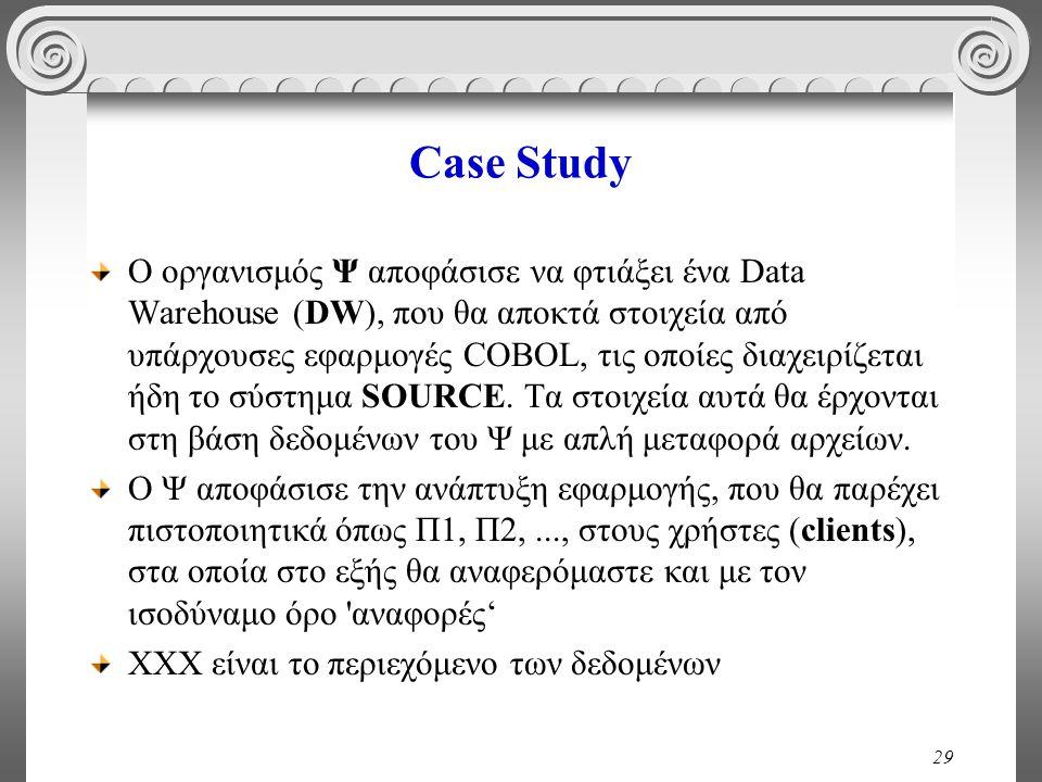 29 Case Study Ο οργανισμός Ψ αποφάσισε να φτιάξει ένα Data Warehouse (DW), που θα αποκτά στοιχεία από υπάρχουσες εφαρμογές COBOL, τις οποίες διαχειρίζεται ήδη το σύστημα SOURCE.