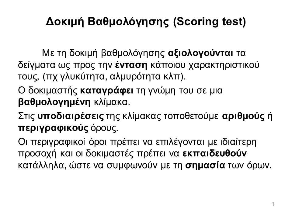 1 Δοκιμή Βαθμολόγησης (Scoring test) Με τη δοκιμή βαθμολόγησης αξιολογούνται τα δείγματα ως προς την ένταση κάποιου χαρακτηριστικού τους, (πχ γλυκύτητ