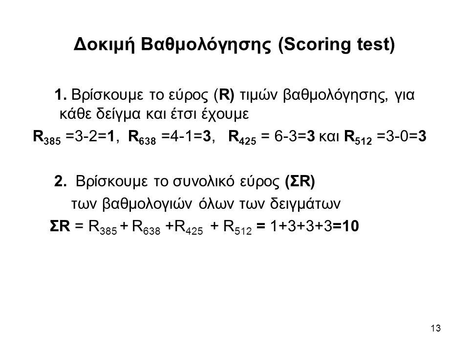 13 Δοκιμή Βαθμολόγησης (Scoring test) 1. Βρίσκουμε το εύρος (R) τιμών βαθμολόγησης, για κάθε δείγμα και έτσι έχουμε R 385 =3-2=1, R 638 =4-1=3, R 425