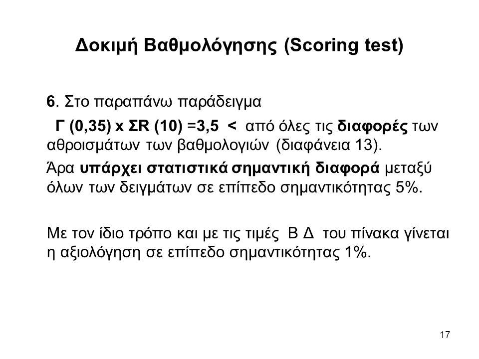 17 Δοκιμή Βαθμολόγησης (Scoring test) 6. Στο παραπάνω παράδειγμα Γ (0,35) x ΣR (10) =3,5 < από όλες τις διαφορές των αθροισμάτων των βαθμολογιών (διαφ