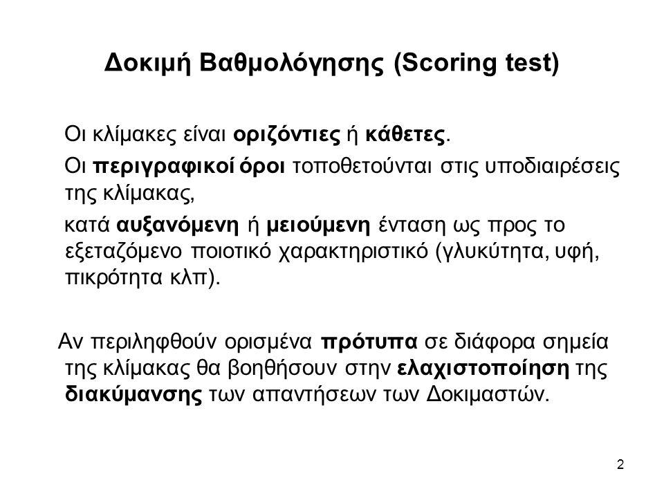 3 Δοκιμή Βαθμολόγησης (Scoring test) Περιγραφική κλίμακα Δοκιμής Βαθμολόγησης Καθόλου (πικρό, αλμυρό κλπ)………………………...0 Ελάχιστα (πικρό) ……………………………………….1 Λίγο (πικρό) ……………………………………………..2 Πικρό …………………………………………………….3 Πολύ (πικρό) ……………………………………………4 Υπερβολικά (πικρό) ……………………………………5