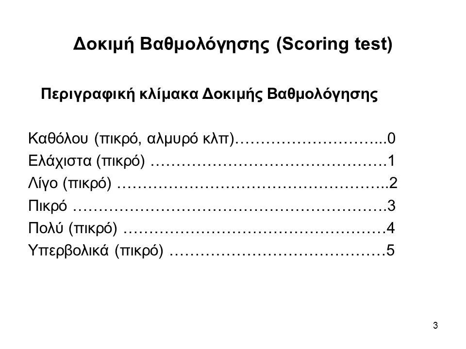 3 Δοκιμή Βαθμολόγησης (Scoring test) Περιγραφική κλίμακα Δοκιμής Βαθμολόγησης Καθόλου (πικρό, αλμυρό κλπ)………………………...0 Ελάχιστα (πικρό) ……………………………………