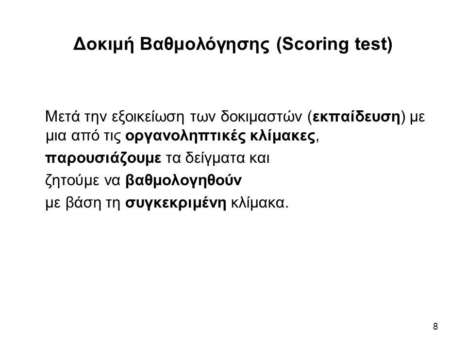 9 Δοκιμή Βαθμολόγησης (Scoring test) Αριθμός Δοκιμαστών 1ή περισσότεροι ειδικοί 5 ή περισσότεροι επιλεγμένοι δοκιμαστές 20 ή περισσότεροι τυχαίοι δοκιμαστές Στατιστική επεξεργασία των αποτελεσμάτων Μη παραμετρικά (πίνακες) Εάν είναι δύο τα δείγματα η αξιολόγηση γίνεται με το με το t-test Εάν είναι τρία ή περισσότερα δείγματα, γίνεται ανάλυση διακύμανσης (ANOVA).