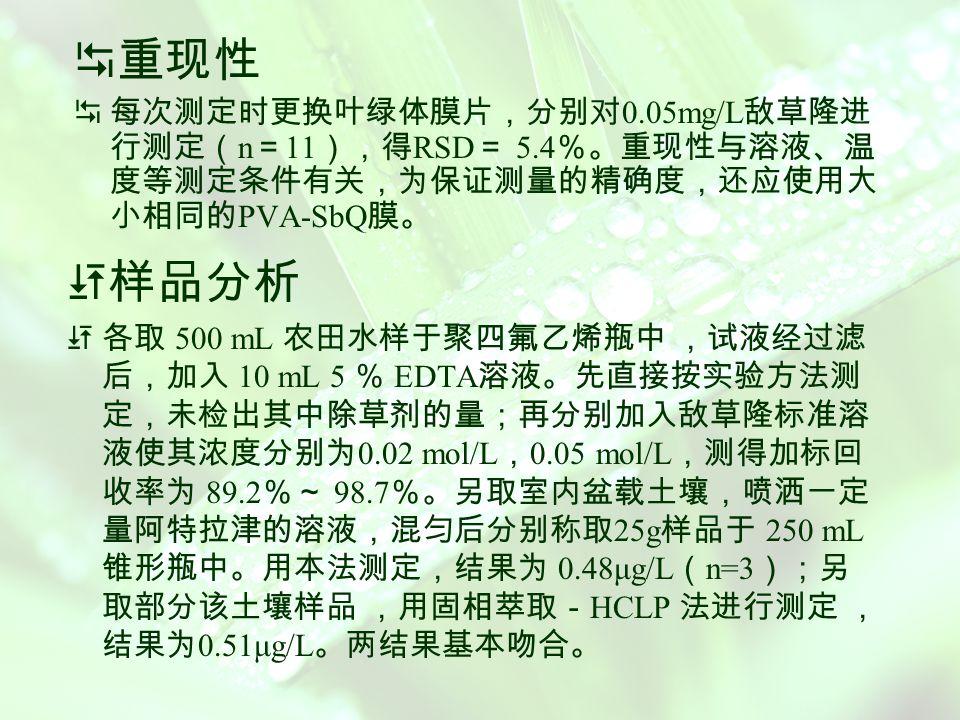 不同固定方法对叶绿体膜活性的影响 取冷藏于 -20 o C 冰箱中的含有相同浓度叶绿素的 PVA-SbQ 固化膜、戊二醛- 牛血清蛋白固定叶绿体膜以及海藻酸钙固 定叶绿体膜,按照上述实验方法 ,分别测定它们在放置不同 时间时对 H 2 O 2 响应的校正曲线,计算曲线的斜率,结果如表 3 。 可见, PVA-SbQ 固定叶绿体膜在不同时间下都具有比其 它两种固定化方法更高的活性。