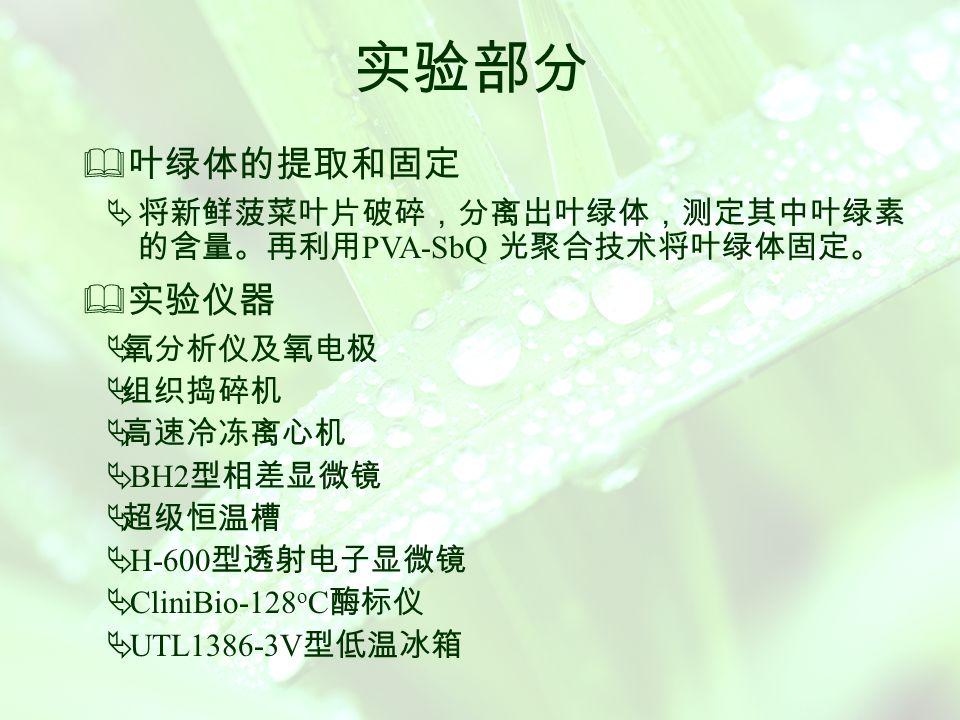 聚乙烯醇 — 苯乙烯吡啶聚合固定叶绿体膜的 制备并用于残留除草剂检测 将叶绿体处理后用聚乙烯醇 - 苯乙烯吡啶 ( PVA -SbQ ) 聚合膜进行固定 ,得到固定化的叶绿体膜,该膜中叶绿体 束缚酶能催化 H 2 O 2 的分解产生氧 ,而除草剂对该指示反应 有抑制作用。利用氧电极 ,建立了新的用于检测痕量除草 剂的电流分析法。  检测痕量除草剂的电流分析法  检测范围 所检测的除草剂有阿特拉津、莠灭净、草净津、西 玛三嗪、扑草净、敌草隆和百草枯等,检测浓度范围分别 为 0.25 ~ 1.75 , 0.04 ~ 0.70 , 0.10 ~ 1.10 , 0.10 ~ 0.80 , 0.20 ~ 1.80 , 0.01 ~ 0.12 和 0.006 ~ 0.02mg/L 。