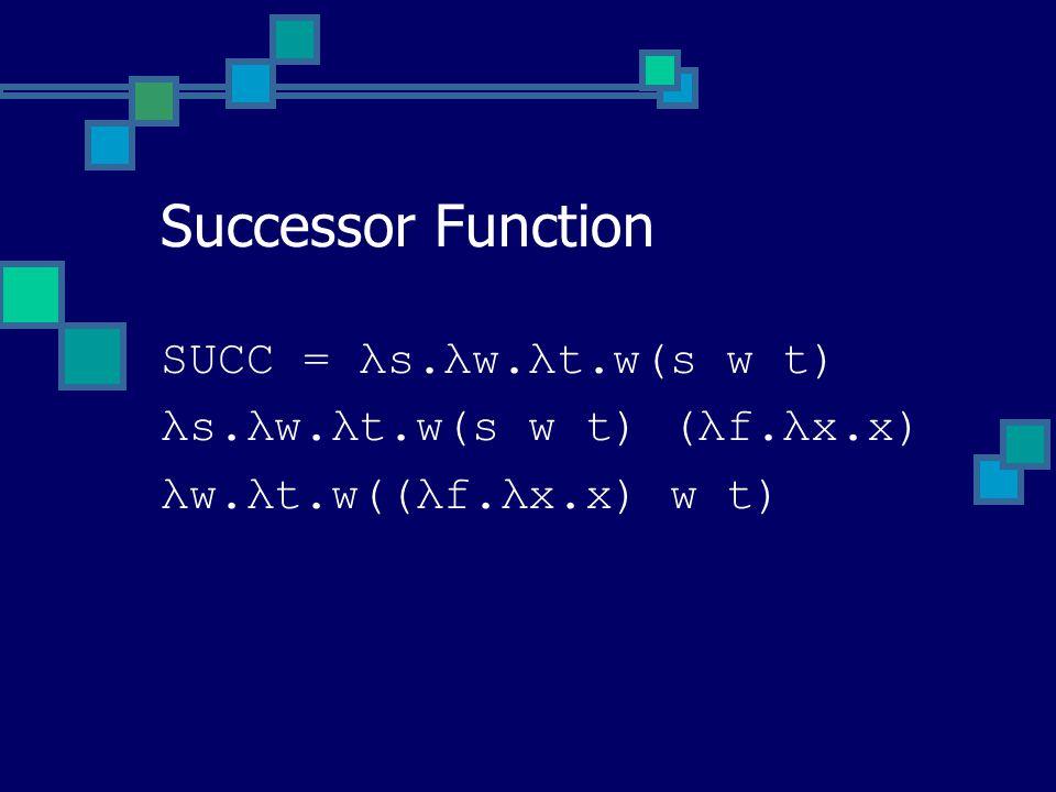SUCC = λs.λw.λt.w(s w t) λs.λw.λt.w(s w t) (λf.λx.x) λw.λt.w((λf.λx.x) w t) Successor Function