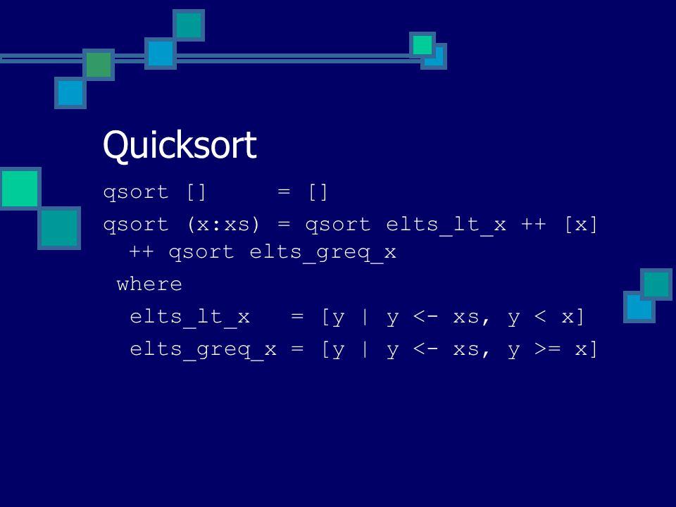 qsort [] = [] qsort (x:xs) = qsort elts_lt_x ++ [x] ++ qsort elts_greq_x where elts_lt_x = [y | y <- xs, y < x] elts_greq_x = [y | y = x] Quicksort