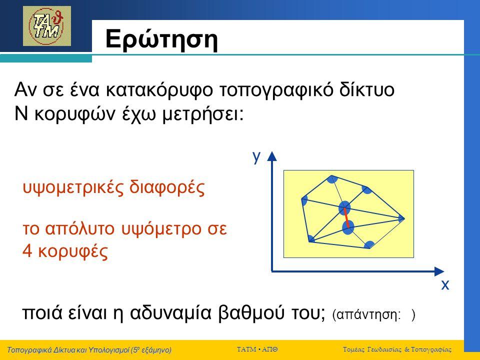 Τοπογραφικά Δίκτυα και Υπολογισμοί (5 ο εξάμηνο) ΤΑΤΜ  ΑΠΘ Τομέας Γεωδαισίας & Τοπογραφίας Ερώτηση Αν σε ένα κατακόρυφο τοπογραφικό δίκτυο Ν κορυφών